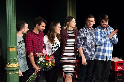 Javier Santiago, Juan Arcones, Alba Fontecha, Laura Put, Ventura Rodríguez y Brays Efe el día del restreno en el Teatro Lara de Madrid.