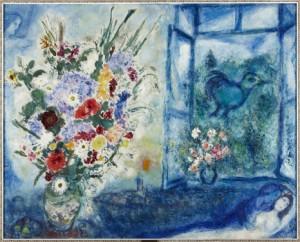 Florero delante de la ventana de Marc Chagall