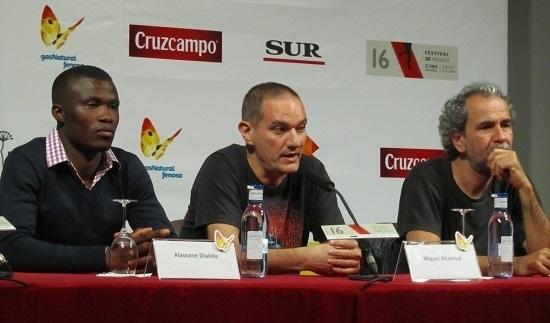 Alassane Diakite, Miguel Alcantud y Guillermo Toledo en la rueda de prensa de 'Diamantes negros' @Alejandro Contreras