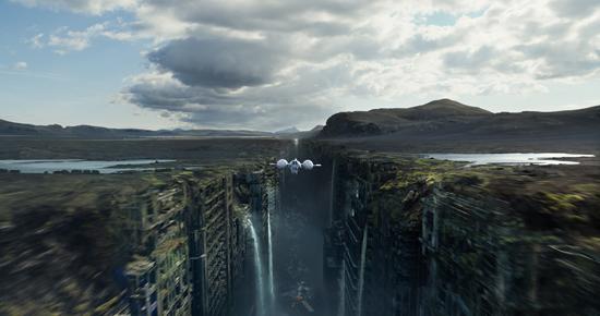 La nave burbuja vuela entre las ruinas de la Tierra en Oblivion