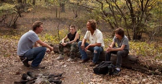El director Jeff Nichols, con los actores Tye Sheridan, Matthew McConaughey y Jacob Lofland