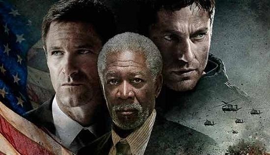 Gerard Butler, Morgan Freeman y  Aaron Eckhart en Objetivo: Casa Blanca (2013) Antoine Fuqua