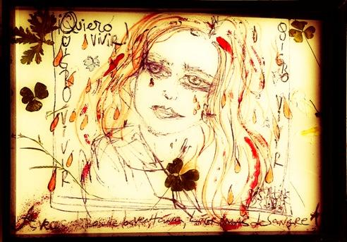 Dibujo Adriana Davidova-u00A1A veces,detru00E1s de la ventana  lu00E1grimas de sangre..!- para la exposicion colectiva contra la violencia de  gu00E9n