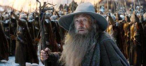Gandalf (Ian McKellen) junto a los ejércitos comandados por  Thranduil.