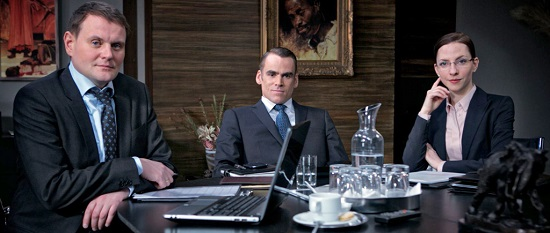 Devid Striesow (Frank Öllers), Sebastian Blomberg (Kai Niederländer) y Katharina Schüttler (Bianca März), los actores protagonistas de 'Tiempo de caníbales'.