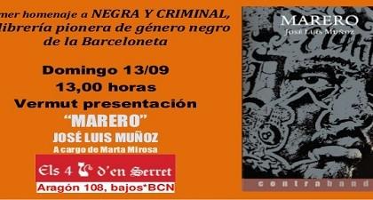 Els 4 Gats d'en Serret homenajea a la librería Negra y Criminal presentando el último libro de José Luis Muñoz