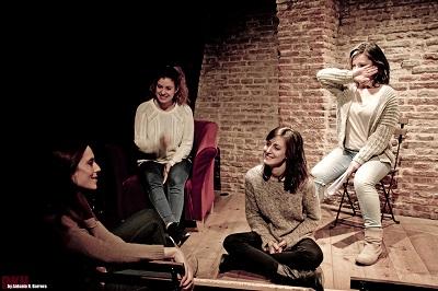 Las cuatro actrices, Andrea Gavelas, Ángela de la Fuente, Celia Medrano y Vanessa Ruiz. Foto Antonio R. Barrera