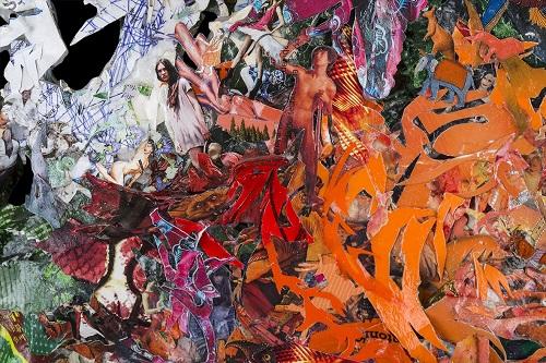 """Detalle de la obra """"I'm fucked up mariquita"""" de Andrea Perissinotto - año 2013 - técnica mixta sobre papel - 85 x 85 cm"""