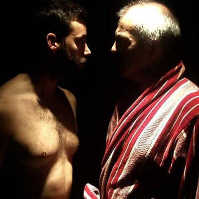 Los actores Fernando Bodega y Javier Lago en un momento de la función Los Bosques de Birmam, de Francisco de los Ríos