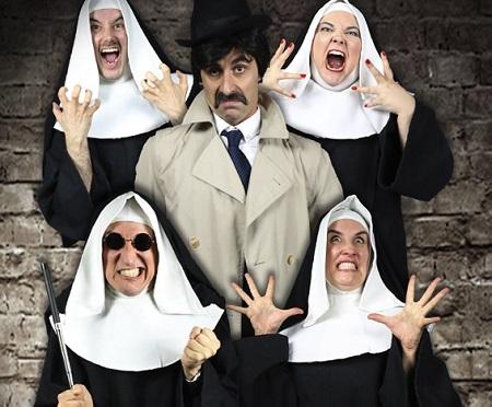Fernando Bodega, Joseba Priego, Ángel Ramón Jiménez, Miguel de Miguel y Noelia Márnez, son monjas y el inspector de Santas y Perversas de José Warletta ©Adan Kof