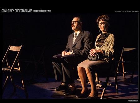 En la imagen de Javier Naval, el momento en que Ernesto tiene la revelación en el teatro, con Carmen Barranco, Marigeles.