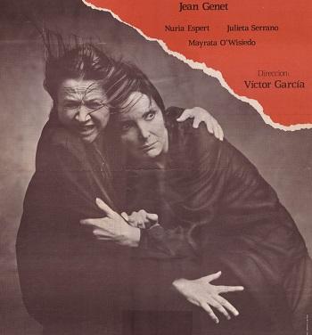 El cartel de las Criadas dirigida por Víctor García, con Nuria Espert y Mayrata O'Wisedo, censurada en Madrid y estrenada en Barcelona en 1967.