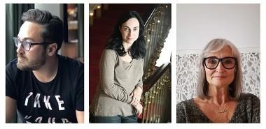 """Sebastián Moreno, Denisse Despeyroux y Amparo Pamplona Autor, directora y actriz para """"Canto de gorrión, que paseas por mi mente"""""""