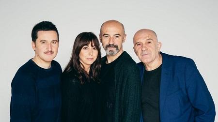 Los actores Juan Vineusa, Carmen Ruiz, Elenco Rulo Pardo y Felipe G. Vélez antes de ser realizado el plan controlador Ronejo de Rulo Pardo y seXpeare